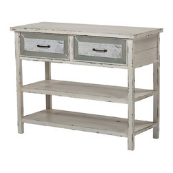 Sterling - Sterling 137-012 Sandallside Board With Drawers And Shelf In Antique Cream - Sterling 137-012 Sandallside Board With Drawers And Shelf In Antique Cream