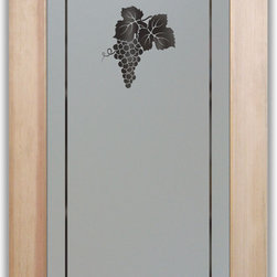 "Pantry Doorz - Glass frosted Grapes Cluster - PANTRY DOORS TO SUIT YOUR STYLE!  Glass Pantry Doors you customize, from wood type to glass design!   Shipping is just $99 to most states, $159 to some East coast regions, custom packed and fully insured with a 1-4 day transit time.  Available any size, as pantry door glass insert only or pre-installed in a door frame, with 8 wood types available.  ETA for pantry doors will vary from 3-8 weeks depending on glass & door type.........Block the view, but brighten the look with a beautiful obscure, decorative glass pantry door by Sans Soucie!   Select from dozens of frosted glass designs, borders and letter styles!   Sans Soucie creates their pantry door obscure glass designs thru sandblasting the glass in different ways which create not only different effects, but different levels in price.  Choose from the highest quality and largest selection of frosted glass pantry doors available anywhere!   The ""same design, done different"" - with no limit to design, there's something for every decor, regardless of style.  Inside our fun, easy to use online Glass and Door Designer at sanssoucie.com, you'll get instant pricing on everything as YOU customize your door and the glass, just the way YOU want it, to compliment and coordinate with your decor.  When you're all finished designing, you can place your order right there online!  Glass and doors ship worldwide, custom packed in-house, fully insured via UPS Freight.   Glass is sandblast frosted or etched and pantry door designs are available in 3 effects:   Solid frost, 2D surface etched or 3D carved. Visit or site to learn more!"