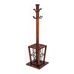 Hard Wood and Metal Hall Tree - Modern Lodge Collection