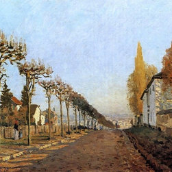 "Alfred Sisley Chemin de la Machine, Louveciennes Print - 18"" x 24"" Alfred Sisley Chemin de la Machine, Louveciennes (also known as Rue de la Machine, Louveciennes) premium archival print reproduced to meet museum quality standards. Our museum quality archival prints are produced using high-precision print technology for a more accurate reproduction printed on high quality, heavyweight matte presentation paper with fade-resistant, archival inks. Our progressive business model allows us to offer works of art to you at the best wholesale pricing, significantly less than art gallery prices, affordable to all. This line of artwork is produced with extra white border space (if you choose to have it framed, for your framer to work with to frame properly or utilize a larger mat and/or frame).  We present a comprehensive collection of exceptional art reproductions byAlfred Sisley."