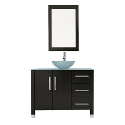 "JWH Imports - 39.5"" Crater Vessel Sink Modern Bathroom Vanity Set Bundle - Make the most of your small space. This sleek and compact vanity set will fit perfectly into bathrooms of smaller proportions. Its glass vessel sink and brushed nickel accents add a cool contemporary flair while the wall-mounted cabinet provides ample storage."