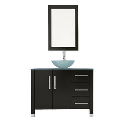 "39.5"" Crater Vessel Sink Modern Bathroom Vanity Set Bundle"
