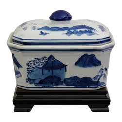 Oriental Unlimted - 7.25 in. Wide Blue & White Landscape Porcelai - Rosewood stand sold separately. Simple, beautiful small lidded box. Great for storing small objects. This item shot with the stand for illustration purposes, the stand is sold separately. Please select the 6 in. W x 4 in. H size of Rosewood Rectangular Stand.. 7.25 in. W x 5.5 in. H (2.5 lbs.)