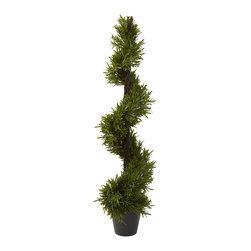 Nearly Natural - 39in. Rosemary Spiral Tree (In-door/Out-door) - Twisting and climbing towards the heavens, this Rosemary Spiral will delight even the hardest to please person, and makes the prefect decoration for any home or office. With more than 540 (faux) leaves and standing a tall 39', this Rosemary is sure to delight for years and years. And the wispy, lush greenery will stay that way with nary a drop of water.