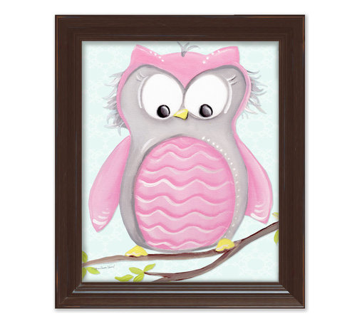 """Doodlefish - Olive Owl in Brown Frame - 15""""x18"""" Framed Giclee of a happy pink and grey owl on soft aqua or pale pink background with a vine pattern. Artwork is available in various frame choices."""