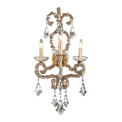Eurofase Lighting - Baliza Gold Leaf Three-Light Wall Sconce - Muted champagne silk is crushed and laces the arms of this Victorian chandelier. Complementing the rich texture and feel are brilliant candelabra lights and cut crystal-glass that casts the luxuriant light generously. Eurofase Lighting - 17447-010