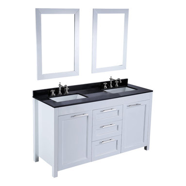 Bosconi - 60'' Bosconi SB-267 Vanity Set - Two can play this game. This handsome modern vanity can accommodate both of your morning regimens and store your bath essentials with room to spare.