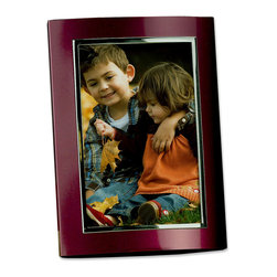 Lawrence Frames - Burgundy Brushed Silver Aluminum Dome 8x10 Picture Frame - Satin merlot metal domed picture frame with shiny silver inner edge. High quality black velvet backing including an easel for vertical or horizontal table top display.  High quality 4x6 metal picture frame is made with exceptional workmanship and comes individually boxed.