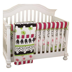 Cotton Tale Designs - Hottsie Dottsie Front Crib Rail Cover Up Set - A quality baby bedding set is essential in making your nursery warm and inviting. All Cotton Tale patterns are made using the finest quality materials and are uniquely designed to create an elegant and sophisticated nursery. This collection is 100% cotton. Graphic, fun, contemporary. Black elephants with hot pink and green accents. Hottsie Dottsie Front Crib Rail Cover Up Set includes fitted crib sheet, dust ruffle, coverlet, and front crib rail cover up. The Hottsie Dottsie front cover up is both function and design, measuring 51 x 15. What a great idea, this front rail cover up protects your foot board on the convertible cribs and it looks great. For the parent choosing not to use a bumper, it can add the needed decor lost when the bumper is removed. The channel quilted comforter in 6 fun fabrics, sheet in white with black spots. The dust ruffle is double shirred in pink and green floral. makes a smashing nursery. Wash gentle cycle, separate, cold water. Tumble dry low or hang dry. Fun crib bedding for your special girl.