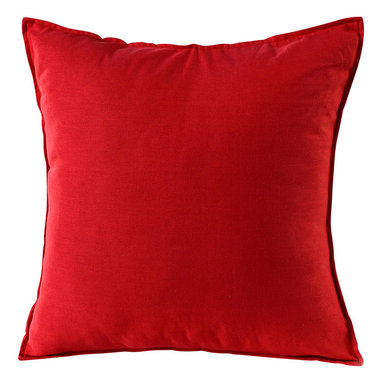 14 Karat Home - Harper Pillow, Orange - Durable weight cotton blend 20 X 20 pillow with a quarter inch self-flange and a hidden zipper closure can be paired with your pattern-designed pillows or other solid pillows  to add some pop and color.
