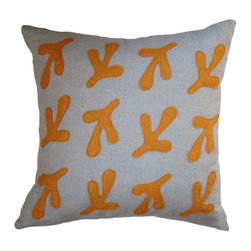 Balanced Design Felt Appliqué Birds Feet Linen Pillow, Spice - Need a more subtle way to express your love for all things ornithological? No one but you will know this pillow features your feathered friend's size 10's.