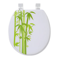 Printed Soft Toilet Seat Ecobio Green Round - This printed round soft toilet seat Ecobio is in foam and cushioned for your comfort. So trendy with its Bamboo sticks pattern! This standard size toilet seat has white plastic hinges and is easy to install with the included hardware. Comfortable with its 4 bumpers, it fits standard toilet bowls. Assembly instructions are supplied. Clean with warm soapy water. Length 15.47-Inch and width 14.37-Inch. Color green. Enhance your bathroom decor with this unique toilet seat! Complete your Ecobio decoration with other products of the same collection. Imported.