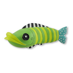 Funky Fish 3-D Wall Hanging Sculpture - From his contrasting stripes, to his hypnotic eye and over sized lips, this fish puts the FUN in FUNky! He is sure to stir up some fun fish tales! No tank needed for this fish, he`ll swim right on your wall! Easily hung from two keyhole brackets on the back, he releases from the wall 3.75 inches, and really `stands out`. This funky fish would have some fun in a child`s room, or whimsically greet your guests at the door. He is cast from resin and hand painted. He measures 11.5 inches long, 5 inches high and 3.75 inches deep. He`s sure to make a splash anywhere you choose!