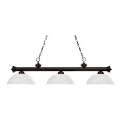 Z-Lite - Z-Lite Riviera Kitchen Island / Billiard X-41LWD-ZRB3-002 - Elegant and traditional best describes this beautiful three light fixture. Finished in oil rubbed bronze and paired with dome white linen shades, this three light fixture would be equally at home in the game room, or anywhere else in the house needing a touch of timeless charm. 72 inches of chain per side is included to ensure a perfect hanging height.