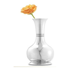 "Match Pewter - Long Neck Vase by Match Pewter - Using methods that predate the Renaissance, Match artisans fashion pewter into functional objects of warmth and beauty.7"" High"