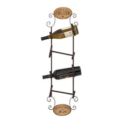ecWorld - Urban Designs Sparkling Wine Colier Metal Wall Hanging Wine Rack - 4 Bottle Disp - A great way to both store and display your favorite vintages, this wall wine rack holds 4 bottles and features a scroll design that will lift up any wall decor.