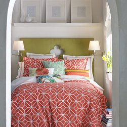 Trina Turk - Trina Turk Queen Comforter Set - We love the bright and breezy attitude of this cotton bed linens collection from Trina Turk. Coral and white trellis-print jacquard comforter sets include comforter and two shams. Queen set has standard shams; king set has king shams. Machine wash. E...
