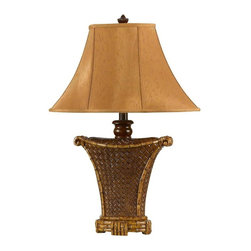 Cal Lighting - Danbury 100W Table Lamp w Fabric Shade in Braided Cafe Finish - Requires 100W bulb (not included). Danbury table lamp. Height: 30 in.. Base: 7.5 in. x 5 in.