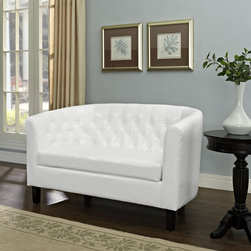 Prospect Loveseat in White (EEI-1043-WHI) - Intrinsically luxurious, Prospect hints at a classic Chesterfield design before blending with a modern twist for a new look to love. Button tufting and sweeping curves mesh to form a contemporary lounging piece that all will be drawn to. The cozy loveseat features comfortable foam padding and faux leather materials that finish off an artistic piece with eye catching appeal. Set Includes: One - Prospect Loveseat