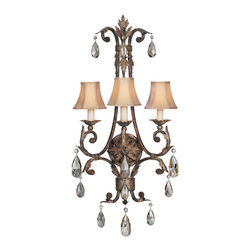 Fine Art Lamps - Stile Bellagio Sconce, 227150ST - Adorn your favorite formal setting with a regal Italianate touch. This lovely wall sconce of tortoised, crackle-finish leather drips with dainty tear-shaped crystals.