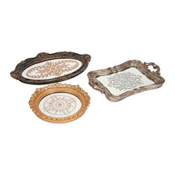 Vintage Look Tea Trays - Set of 3 - *These modern castings inspired by antique pewter tea trays, are a beautiful addition to a buffet or curio cabinet.