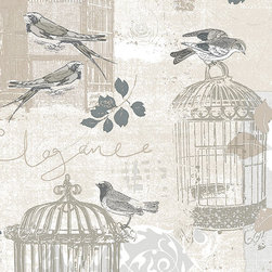 Birds and Birdcages in Beige and Grey - KE29946 - Collection:Kitchen Elements