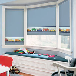 Blindsgalore - BG Kids Roller Shade: Toy Trucks - If youÇÖve been searching for a unique window treatment for your nursery, look no more.  With BG Kids Roller Shades, youÇÖll find several exclusive designs available only through Blindsgalore.  Our original designs feature bold graphics and creative color combinations that let you express your style.  Each design is available in semi-opaque or blackout fabric.  Choose the one tha