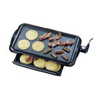 Nostalgia Products - Non-Stick Griddle w Warming Drawer - Adjustable thermostat. Removable drip tray. Easy to use and clean. Temperature range: 200 - 400 degree F. Wattage: 1400 W. Warranty: 90 days. Made from aluminum. Black color. Griddle surface: 18.88 in. L x 10.5 in. WThe Non-stick Griddle with Warming Drawer is for large groups, keep food hot and ready to eat inside the warming drawer that slides out easily from beneath the unit. Breakfast can now be made quickly all in one unit! Pancakes, eggs and bacon can easily be cooked on the griddle while toast warms below. The relatively lightweight and slim design makes this unit great for use in RVs during camping trips. The handles are heat resistant. The variety of meals is endless, making this a must-have item for every modern household.