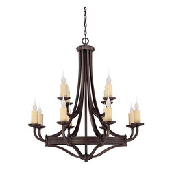 Elba 12 Light Chandelier - Oversized candle sleeves, clean lines, and chunky riveted details add to the allure and authenticity of this forged iron piece. Weight: 42. 02 lbsFinish: Oiled CopperBulb Wattage: 60Number of Bulbs: 12Candle Covers: Ivory BeeswaxType of Bulb: CNumber of Arms: 12Bulbs Included: NoSafety Rating: UL, CULVoltage: 120