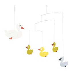 Flensted Mobiles - Ugly Duckling Mobile - This delightful mobile brings the beloved tale from Hans Christian Anderson to life. Three yellow ducklings (who are anything but ugly) transform into a beautiful white swan, making this mobile a sweet addition to the nursery or to your child's room.