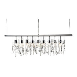 Linear Strand Crystal Chandelier - This chandelier feels totally contemporary, and would make a nice statement above a long rectangular dining table.