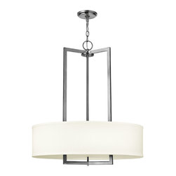 Hinkley Lighting - Hampton Pendant Chandelier - If geometry was your favorite subject, you will have to have this chic pendant hanging in your home. The linen shade softens the bold, clean lines and allows pure light to focus on the subject at hand, which is the lighting of your space.