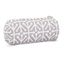 Majestic Home - Outdoor Gray Aruba Round Bolster Pillow - Add a splash of color and a little texture to any environment with these great indoor/outdoor plush pillows by Majestic Home Goods. The Majestic Home Goods Round Bolster Pillow will add additional comfort to your living room sofa or your outdoor patio. Whether you are using them as decor throw pillows or simply for support, Majestic Home Goods Round Bolster Pillows are the perfect addition to your home. These throw pillows are woven from Outdoor Treated polyester with up to 1000 hours of U.V. protection, and filled with Super Loft recycled Polyester Fiber Fill for a comfortable but durable look. Spot clean only.
