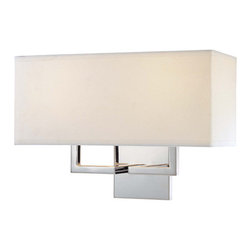 """George Kovacs - 2 Light Wall Sconce - Features: -Wall sconce. -Sconces collection. -Two light. -Off-White linen shade. -Wall mount. -Hardwired switch type. -Accommodates 2 x 60 watt medium bulbs. Dimensions: -11"""" H x 16"""" W x 7"""" D, 2.2 lbs."""