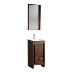 "Fresca - Fresca Allier 16"" Gray Oak Modern Bathroom Vanity w/ Mirror, Wenge Brown - Fresca Allier 16"" Wenge Brown Modern Bathroom Vanity w/ Mirror"