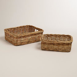 World Market - Roxie Rattan Baskets - Sturdy and stylish in warm honey hues, our Roxie Rattan Baskets combine a versatile shape and convenient cutout handles into a savvy storage solution.