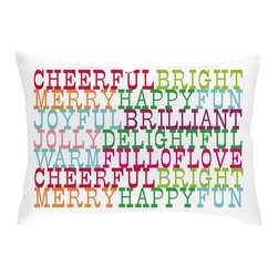 Checkerboard Ltd - Holiday Wishes Decorative Throw Pillow - 14 inch by 20 inch - Festive holiday lumbar shaped pillow in rainbow of colors is a wonderful accent piece. Our softly textured cotton/polyester fabric is long-lasting, wrinkle-resistant and feels as great as it looks.