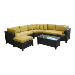 Kontiki - Kontiki Conversation Sets - Wicker Sectional Sets - [1.0 set/set]   Recreating the poolside high-end feel of an upmarket hotel for outdoor living in a residence or commercial space is easy with the Ritz series of Kontiki patio furniture.    This series features a number of configurations to suit your outdoor living spaces. And the stylish design of these selections of patio furniture sets is only rivaled by how well-made they are, and how ready they are to endure for the long-term in your outdoor living space.     High-end style, innovative design    The classic look of this series of patio furniture sets makes each selection a stylish addition to any outdoor space. But, the visual effects of these sets are just a part of the story. Each option is bolstered by true 21st century manufacturing innovation. After all, you want a set of patio furniture that's going to look great, and do so for the long-term.    The quality wicker textures are supported by sturdy frames which are designed to resist everyday stresses. Powder-coated aluminum helps to extend their performance against corrosion. And the canvas-like fabrics which are designed by Sunbrella utilize the latest synthetic fiber technology are engineered to resist stains and fading. This is patio furniture that is made to endure, along with the classic look they represent.     High-end patio furniture at best pricing    When you're creating a comfortable and stylish outdoor room, you're looking for the best quality at a price that makes sense. That's why we've designed a channel to get these products to you by working closely with our manufacturing partners to ensure the best results on quality and on price.    Our partners concentrate on creating the best patio furniture products; this is what they do best. And we concentrate on what BuildDirect does best; streamlining the steps it takes to get products from where they're made and to your door. The result is high-quality