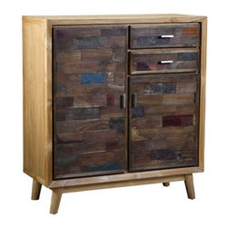 Interlude Home - Interlude Home Anders Tall Chest - This Interlude Home Tall Chest is crafted from Wood  and Metal and finished in Recycled Boat Wood and Natural Rustic and Antique Silver.  Overall size is:  35 in. W  x  16 in. D x 39 in. H.