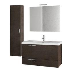 ACF - 39 Inch Wenge Bathroom Vanity Set - Set Includes: Vanity Cabinet (2 Doors,1 Drawer), high-end fitted ceramic sink, wall mounted vanity mirror, tall storage cabinet.