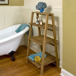 Three Tiered Teak Shelf - The Three Tiered Teak Wood Shelf is just the right size for multiple areas of your home. Great for use in a bathroom to store toiletries, towels and washcloths. This teak shelf can be stained, if desired or left natural.
