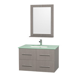 Wyndham Collection - Centra Grey Oak with Green Glass Top with Square Porcelain Undermount Sink - Simplicity and elegance combine in the perfect lines of the Centra vanity by the Wyndham Collection. Dimensions: 36 in.