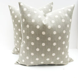 Gray Pillow Sets by Posh Street Pillows - The polka dot print is youthful and fun, but the neutral color palette is modern and sophisticated. This ain't your 3-year-old's polka dotted pillow!