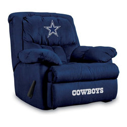Imperial International - Dallas Cowboys NFL Home Team Recliner - Check out this AWESOME Home Team Recliner. It's incredibly comfortable with microfiber fabric, overstuffed arms and back. Each team logo is embroidered and sewn on the center headrest and footrest. This is a true statement piece that is perfect for your Man Cave, Game Room, basement or garage