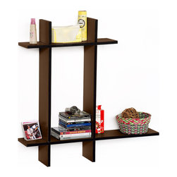 Blancho Bedding - [Lovely Chocolate-B] Leather Cross Type Shelve / Floating Shelve (4 pcs) - These beautifully crafted Cross Wall Shelves display the art of woodworking and add a refreshing element to your home. Versatile in design, these leather wall shelves come in various colors. Just exert your imagination and put the boards together to light up your room. They spice up your home's decor, and create a multifunctional storage unit for all around your home. These elegant pieces of wall decor can be used for various purposes. It is ideal for displaying keepsakes, books, CDs, photo frames and so much more. Install as shown or you may separate the shelves to create a layout that suits your taste and your style. You can hang them on the wall, or have them stand on table or floor, or any way you like. Each box serves as a practical shelf, as well as a great wall decoration. It is able to be combined with Cross shelf-A. Just do it with your imagination.Each measures approx. (W)30.9 x  (D)6 inches; (W)20.5 x  (D)6 inches; Thick: 0.6 inches.