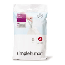 simplehuman - Code A Custom Fit Can Liners, 4.5 Liters, 30 Pack - Triumph over trash with the right-sized liner for your simplehuman can. You'll eliminate messy bag bunching and appreciate the extra-thick, double-seam construction and strong drawstring handles.