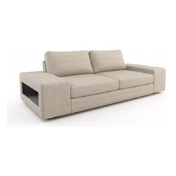 Strata Queen Sofa Bed (Eco-Friendly) - Modern style eco-friendly sofa bed that is made with 100% alder wood, all natural latex and eco wool, and comes in a large variety of natural or recycled fabrics. It's made in Los Angeles, and is natural from the inside out with no use of chemicals or fire retardants. The pullout mattress can be an air mattress, or a natural latex mattress.