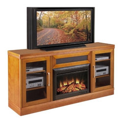 "Furnitech - Transitional 70"" TV Stand with Electric Fireplace - Introducing the combination of a High-Tech Home Theater Platform with the timeless pleasures of a warm hearth. Furnitech has taken its classic entertainment console designs and combined them with a simple to use electric fireplace that can be easily integrated into virtually any principal room of a residence. Whether you live in a city apartment or a private home in the suburbs, you can now enjoy the soothing benefits of a fireplace without the costly demands of a real one. Our consoles are fully equipped to handle the most demanding surround sound equipment installations while providing the warmth and ambience of a real fireplace. Our electric fireplaces are designed for safe, clean and economical use operating from any 120V household outlet. You may opt to take the chill off a room by initiating the powerful fan forced electric heater or simply turn on our life like flame effect and glowing realistic looking logs to create a captivating appearance. All electric firebox features can be initiated from the controls on the unit or with our hand held remote control. No venting or other complicated installations are required. Just insert the firebox into our media console, plug it in and enjoy! Features: -4 adjustable shelves.-Center channel speaker drawer.-Storage space for multiple components.-Internal Wire Management capabilities.-Ventilated removable back panels.-Realistic wood burning effect.-Full functional remote control with timer.-Adjustable heat and flame brightness.-Fixed tempered glass front.-Plugs into any standard outlet.-Front load design with trim.-Light Cherry finish.-Electric Fireplace FeaturesDurable powder black coat finish.-Shaker collection.-Recommended TV Type: Flat screen or plasma.-Finish: Light Cherry.-Powder Coated Finish: No.-Gloss Finish: Yes.-Material: Veneer, MDF, Solid Wood.-Number of Items Included: 1.-Distressed: No.-Exterior Shelves: No.-Drawers: No.-Cabinets: Yes -Number of Doors: 2.-Door Attachment Detail: European Hinge.-Interchangeable Panels: No.-Magnetic Door Catches: No.-Cabinet Handle Design: Sculptured stainless steel bar handles.-Adjustable Interior Shelves: Yes..-Scratch Resistant: No.-Ventilation Features: Ventilation slots in back panel.-Removable Back Panel: Yes.-Hardware Finish: Stainless Steel.-Casters: No.-Accommodates Fireplace: Yes.-Fireplace Included: Yes -Fireplace Type: Electric.-Firebox Construction: Steel.-Functional Fireplace: Yes.-Optional Fireplace Heat: Yes.-BTU Output: 4770 BTU.-Wattage Output: 1400 W.-Power Requirement: 120 V-60 Hz.-Ampere Requirement: 11.5 Amps.-Electric Flame Type: LED.-Space Heating Capacity: 400 sq ft.-Adjustable Temperature: Yes.-Adjustable Flame: Yes.-Flickering Flame Effect: Yes.-Thermal Overload Protection: Yes.-Timer Function: Yes.-Heat Proof Glass: Yes..-Lighted: No.-Media Player Storage: Yes.-Media Storage: Yes -Media Storage Capacity: 68 DVDS/175 CDS..-Cable Management: Yes.-Remote Control Included: Yes.-Batteries Required: Yes -Battery Type: 1 Button Cell.-Batteries Included: Yes..-Weight Capacity: 500.-Swatch Available: Yes.-Commercial Use: Yes.-Collection: Transitional.-Eco-Friendly: Yes.-Recycled Content: No.-Lift Mechanism: No.-Expandable: Yes.-TV Swivel Base: No.-Integrated Flat Screen Mount: No.-Hardware Material: Stainless steel hinges, steel screws for joinery.-Non-Toxic: No.-Product Care: Clean with dry cloth.Specifications:"