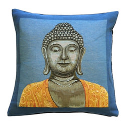 Pillow Decor Ltd. - Buddha in Blue French Tapestry Throw Pillow - Who said serenity can't be ultravibrant? If your bliss comes in electric hues, you will appreciate this dazzling accent pillow. Contrasting a Buddha image with a saturated two-tone background, this French tapestry pillow is a study in contrasts. Use it as a pop of color on a white sofa or a fun addition to your meditation room.