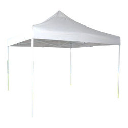 Zenport - Zenport Solar Guard 10' x 10' Easy-Up Canopy Shelter - The Zenport AGT3M 10-foot x 10-foot easy up solar guard canopy design implements easy release buttons that will not pinch fingers, and they ensure a quick and easy assembly. The heavy-duty, 210D polyester canopy covering is enhanced with a special UV resistant coating to ensure durability. Dual stabilizer arms in each corner provide added eave support, along with batwings and guy outs for added stability in windy conditions. Square tube poles are constructed of 16 gauge steel for added strength and support durability.